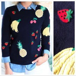 Talbots Fruit Embroidered Sweater